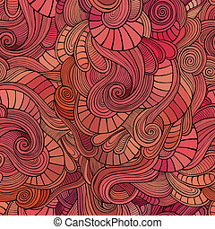 Vector waves decorative doodles seamless pattern - Vector...