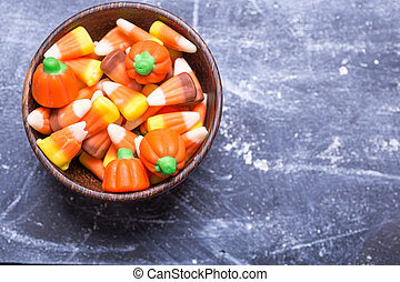Halloween Candy Corn - A bowl full of seasonal Halloween...