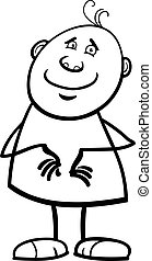 funny happy man cartoon coloring page - Black and White...