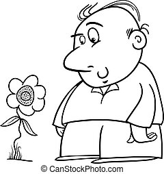 man with sunflower coloring page - Black and White Cartoon...