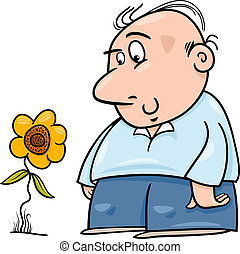 man with sunflower cartoon illustration - Cartoon...