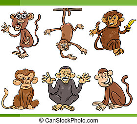monkeys cartoon set illustration - Cartoon Illustration of...