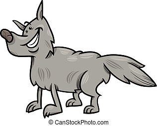 gray wolf animal cartoon illustration - Cartoon Illustration...