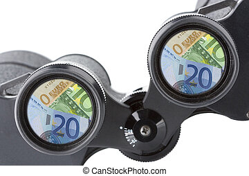 isolated binoculars with money - close up of a binoculars...