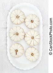 White Pumpkins - Beautiful table decorations of white...