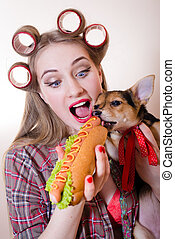 funny pinup small cute dog & beautiful blond sexy young...