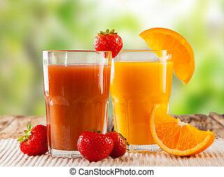 fresh juice - Fresh juice, mix fruits, strawberry and orange...
