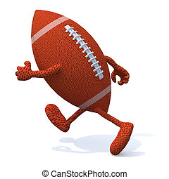 rugby ball with arms and legs running, 3d illustration