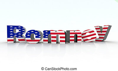 romney sign with american flag, 3d illustration