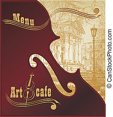 Creative background for advertising and menu music club night in the fashionable trend, art cafe