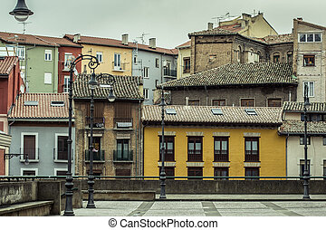 Pamplona - View of a little square of pamplona in a cloudy...