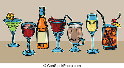 Cocktails - Set of colorful drawn cocktails
