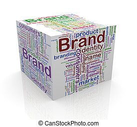 3d cube wordcloud word tags  of brand