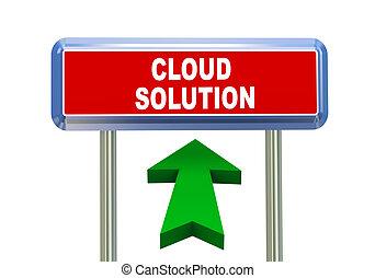 3d arrow road sign - cloud solution