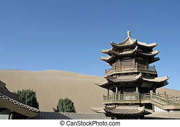 Temple in Crescent lake, Mingsha Shan, Dunhuang, China
