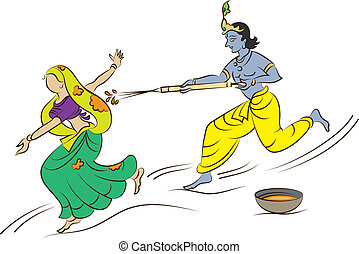 Calligraphic Krishna Playing Holi With Gopi Vector Art