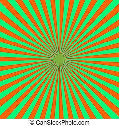Orange and green color burst background