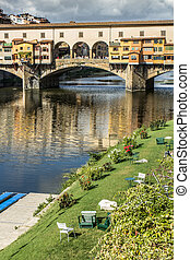 Ponte Vecchio - View of Ponte Vecchio with vertical...