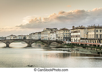 Arno River - View of the other side of Ponte Vecchio. Arno...