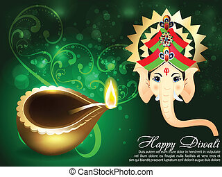 Happy Diwali Greeting Card vector