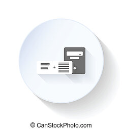 Chassis for desktop computers flat icon design vector...
