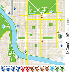 Citymap with marker icons - Vector illustration of an...