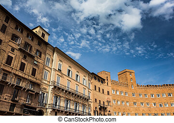 Sienna - View of the Sienna facades. Tuscany, Italy.