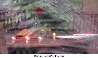 woman bower drink - Lonely woman sit near table with burning...