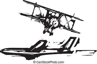 Woodcut Airplanes