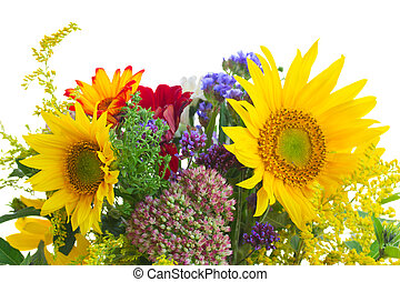 posy of fall autumn flowers - posy of sunflowers and fall...