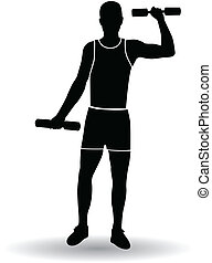 Active man gymnastic silhouettes vector