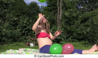 pregnant woman play - Happy pregnant woman girl play with...
