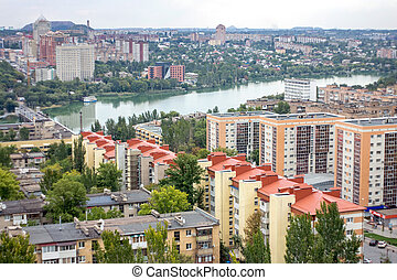 The beautiful city of Donetsk, Ukraine. A bird's-eye