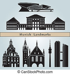 Munich landmarks and monuments isolated on blue background...