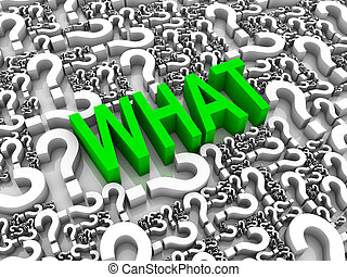 Ask What - WHAT 3D text surrounded by question marks. Part...