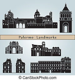 Palermo landmarks and monuments isolated on blue background...