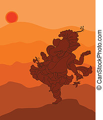 Shadow Art Ganesha Vector Art