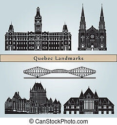 Quebec landmarks and monuments isolated on blue background...
