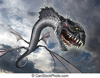 Snake Dragon Attacks - A snake dragon swoops down from the...