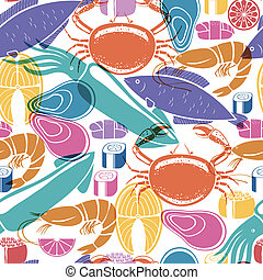 Fish and seafood background seamless pattern - Colorful...
