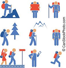Set of colored vector hiking icons showing a mountaineer...