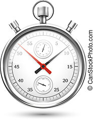 Silver Stopwatch Graphic Hovering on White Background