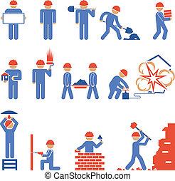 vario, edificio, Demolición, carácter, iconos