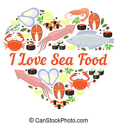 I Love Seafood vector heart design for a poster or card with...