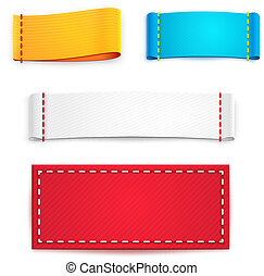 Colorful Blank Fabric Labels or Badges - Collection of Five...