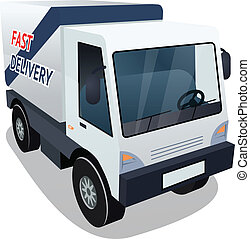 Delivery Cargo Truck Graphic on White Background - Three...