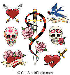 Various Heart Skull and Dagger Tattoo Graphics - Various...