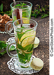 Moroccan tea with mint, lime and cinnamon