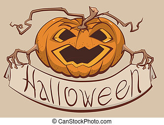 Lantern pumpkin holding a banner