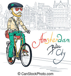 Vector trendy hipster bearded guy on a bike - Trendy hipster...
